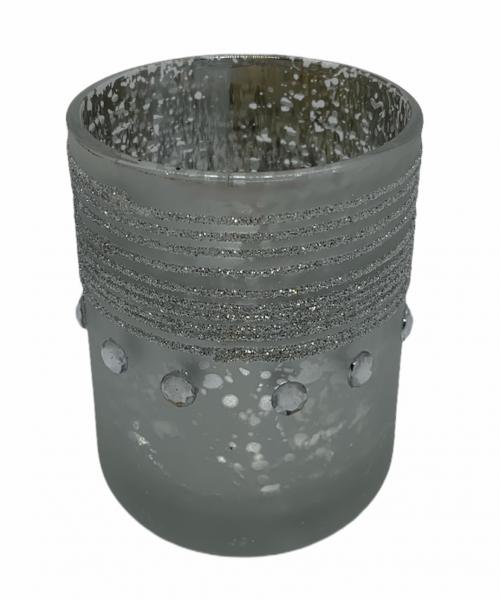 Teelichtglas mit Steinen