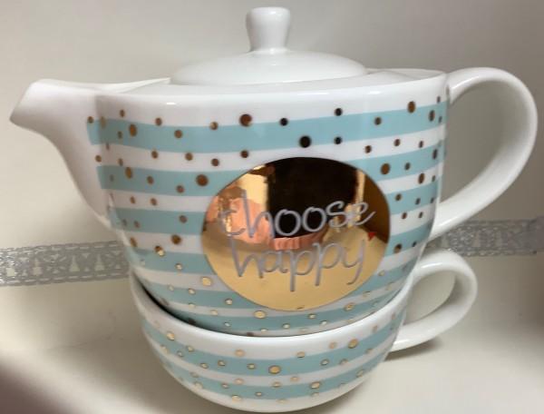 Teekanne mit Tasse - Choose happy